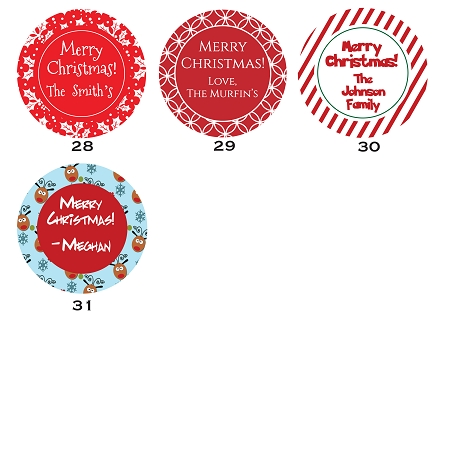 2 round gift tag stickers