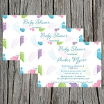 Multicolored Feet Baby Shower Invitation