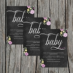 Floral Chalkboard Baby Shower Invitation