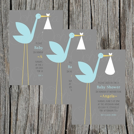 Blue Stork Baby Shower Invitation