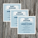 Blue Faux Textured Baby Shower Invitation