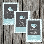 Chevron Whale Baby Shower Invitation