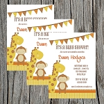Giraffe and Monkey Baby Shower Invitation