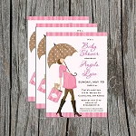 Pink Dotted Umbrella Baby Shower Invitation