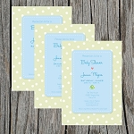 Green and Blue Baby Shower Invitation