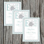 Green and Grey Elephant Baby Shower Invitation