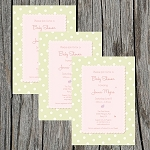 Green and Pink Baby Shower Invitation