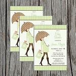 Green Umbrella Baby Shower Invitation