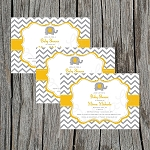 Grey and Gold Elephant Baby Shower Invitation