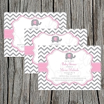 Pink and Grey Chevron Baby Shower Invitation