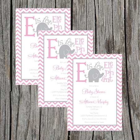 invitations baby shower invitations pink and grey elephant baby