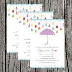 Purple Umbrella Baby Shower Invitation