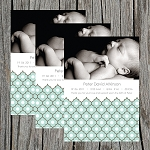Ornamental Boy Photo Birth Announcement