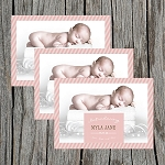 Peach Striped Girl Custom Birth Announcement