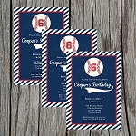 Baseball Custom Birthday Invitations