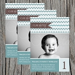 Blue Chevron Custom Birthday Invitations