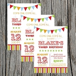 Circus Banner Custom Birthday Invitations