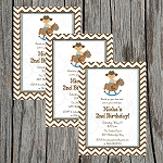 Chevron Cowboy Custom Birthday Invitations