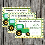 Chevron Tractor Custom Birthday Invitations