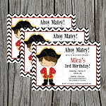 Chevron Pirate Custom Birthday Invitations