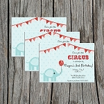 Circus Elephant Custom Birthday Invitations