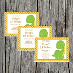 Dino 1 Custom Birthday Invitations