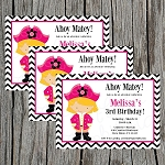 Girl Pirate Custom Birthday Invitations