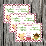 Girls Slumber Party Custom Birthday Invitations