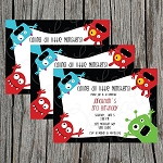 Monster 3 Custom Birthday Invitations