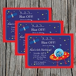 Outer Space 3 Custom Birthday Invitations