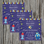 Outer Space 4 Custom Birthday Invitations