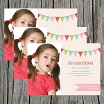 Pennant Banner Custom Birthday Invitations
