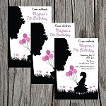Silhouette Girl Custom Birthday Invitations