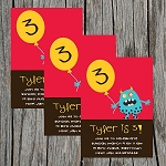 Silly Monster Custom Birthday Invitations
