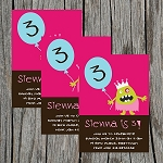 Silly Monster Girl Custom Birthday Invitations