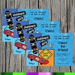 Skateboard 3 Custom Birthday Invitations