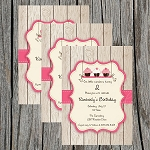 Strawberry Cupcake Custom Birthday Invitations