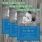 Striped Boy Custom Birthday Invitations