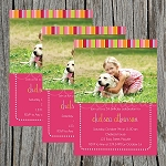 Striped Girl Custom Birthday Invitations