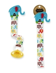 Multicolored Elephants Pacifier Clips