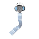 Blue Striped Elephant Pacifier Clips