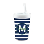Blue Striped Green Accent Personalized Built in Straw Tumbler