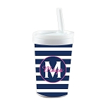 Blue Striped Pink Accent Personalized Built in Straw Tumbler