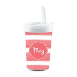 Bright Coral Personalized Built in Straw Tumbler