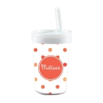 Coral Watercolor Dots Personalized Built in Straw Tumbler    (COPY)