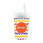 Hand Sketched Chevron with Orange Personalized Built in Straw Tumbler