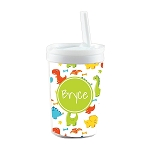Multicolored Dinosaurs Personalized Built in Straw Tumbler