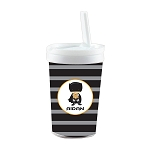 Black and Grey Striped Caped Superhero Built in Straw Tumbler
