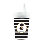Black Striped Caped Superhero Built in Straw Tumbler