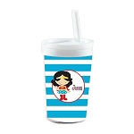 Blue Striped Wonder Woman Built in Straw Tumbler